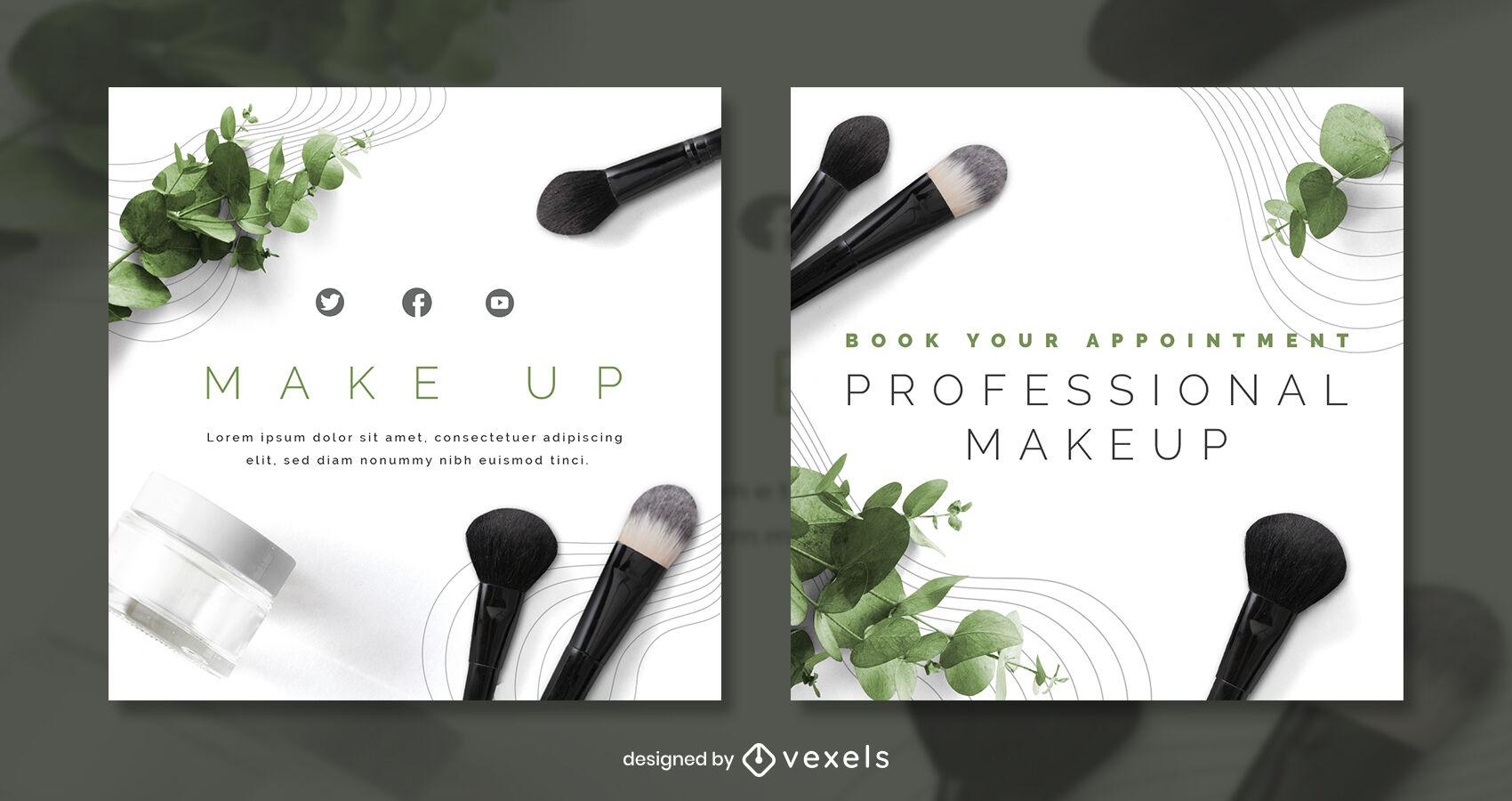 Plantilla de publicación de instagram de maquillaje de naturaleza