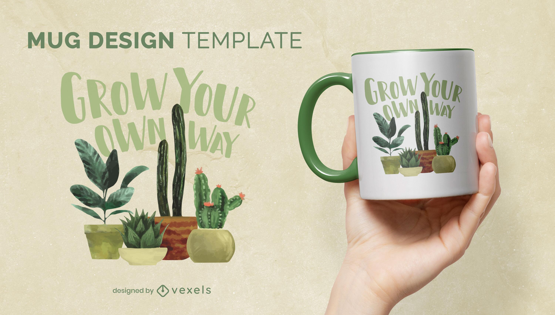 Dise?o de taza de acuarela de plantas y cactus.