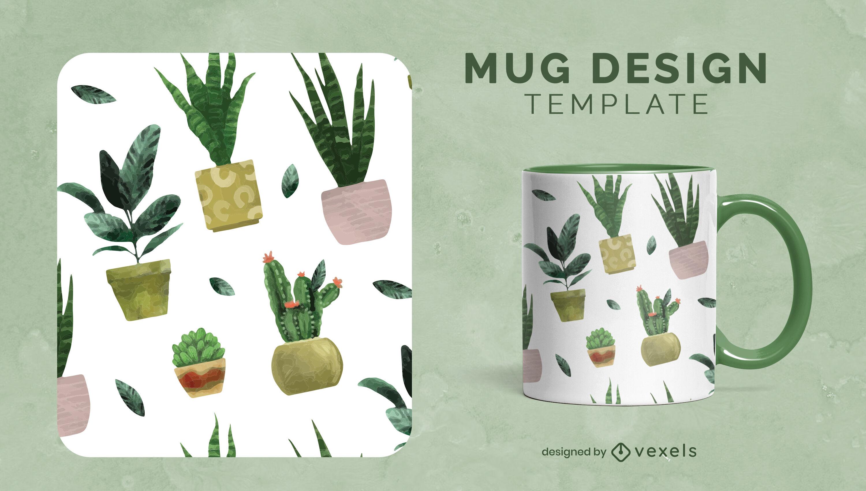 Cactus plants watercolor mug template