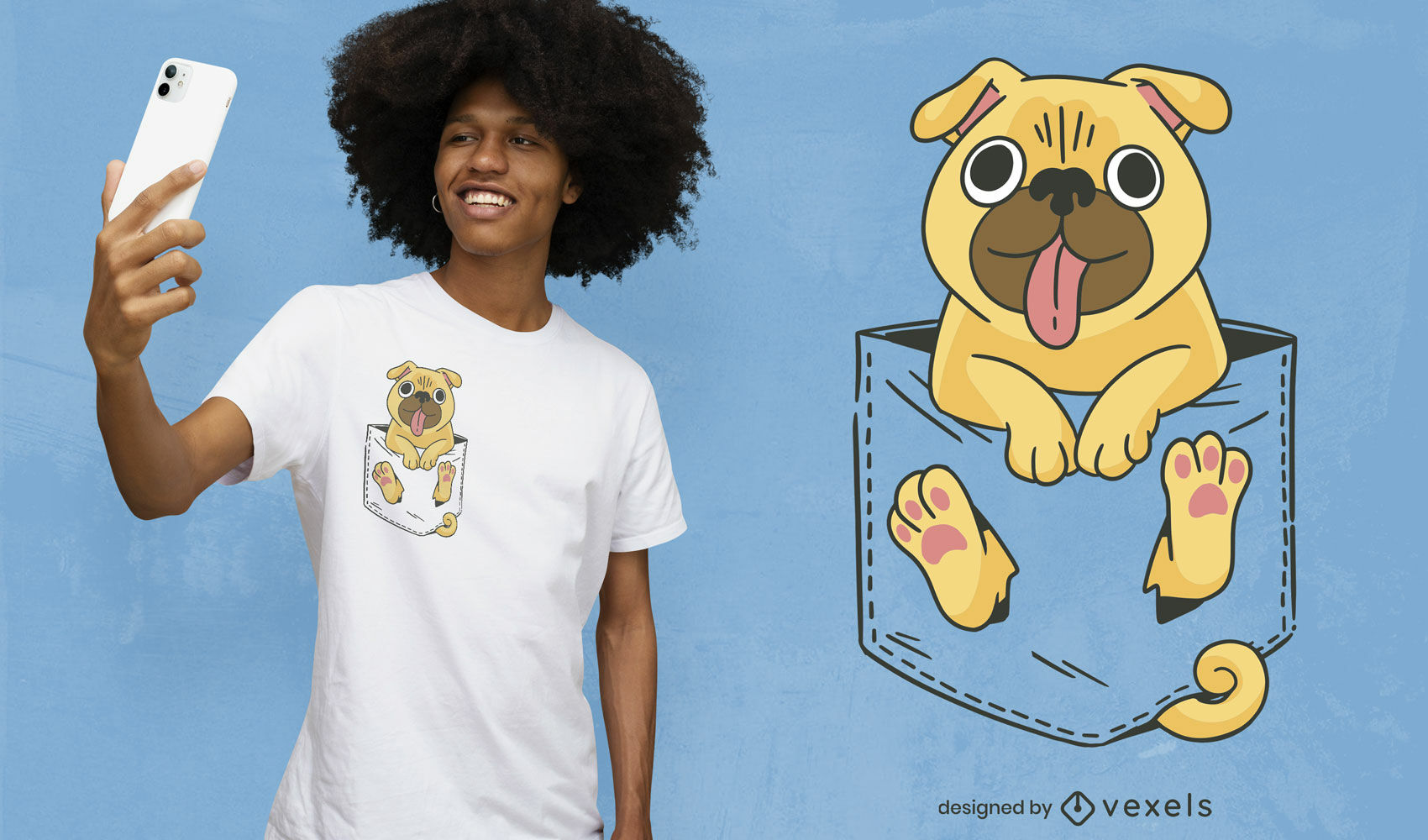 Pug en diseño de camiseta de bolsillo