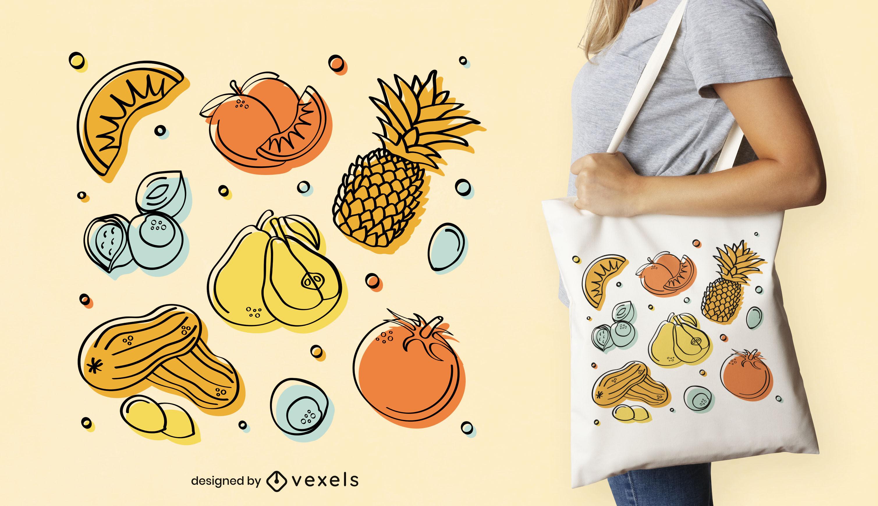 Diseño de bolso tote de verduras y frutas.