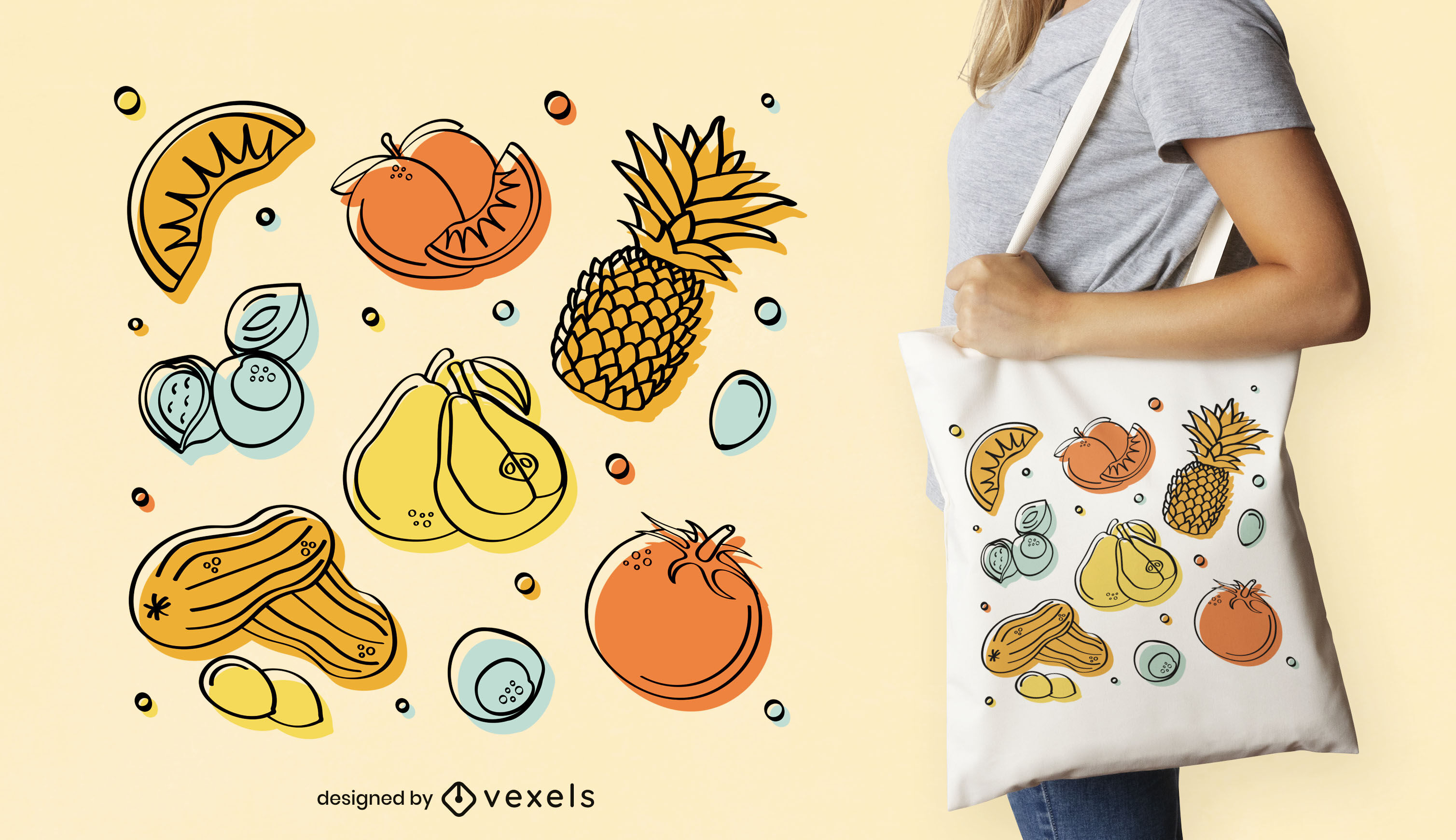 Vegetables and fruits tote bag design