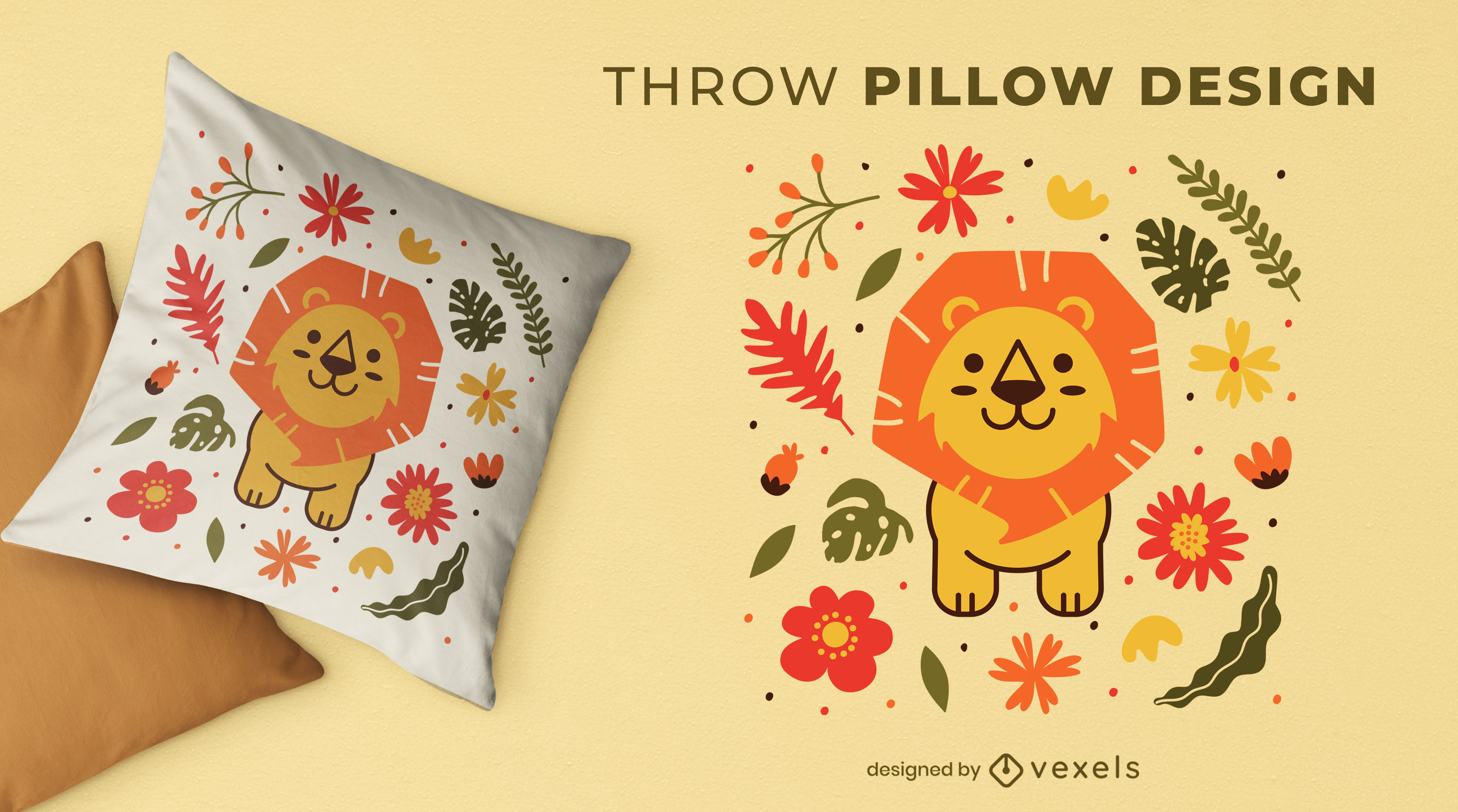 Design de travesseiro decorativo bonito da natureza do leão bebê