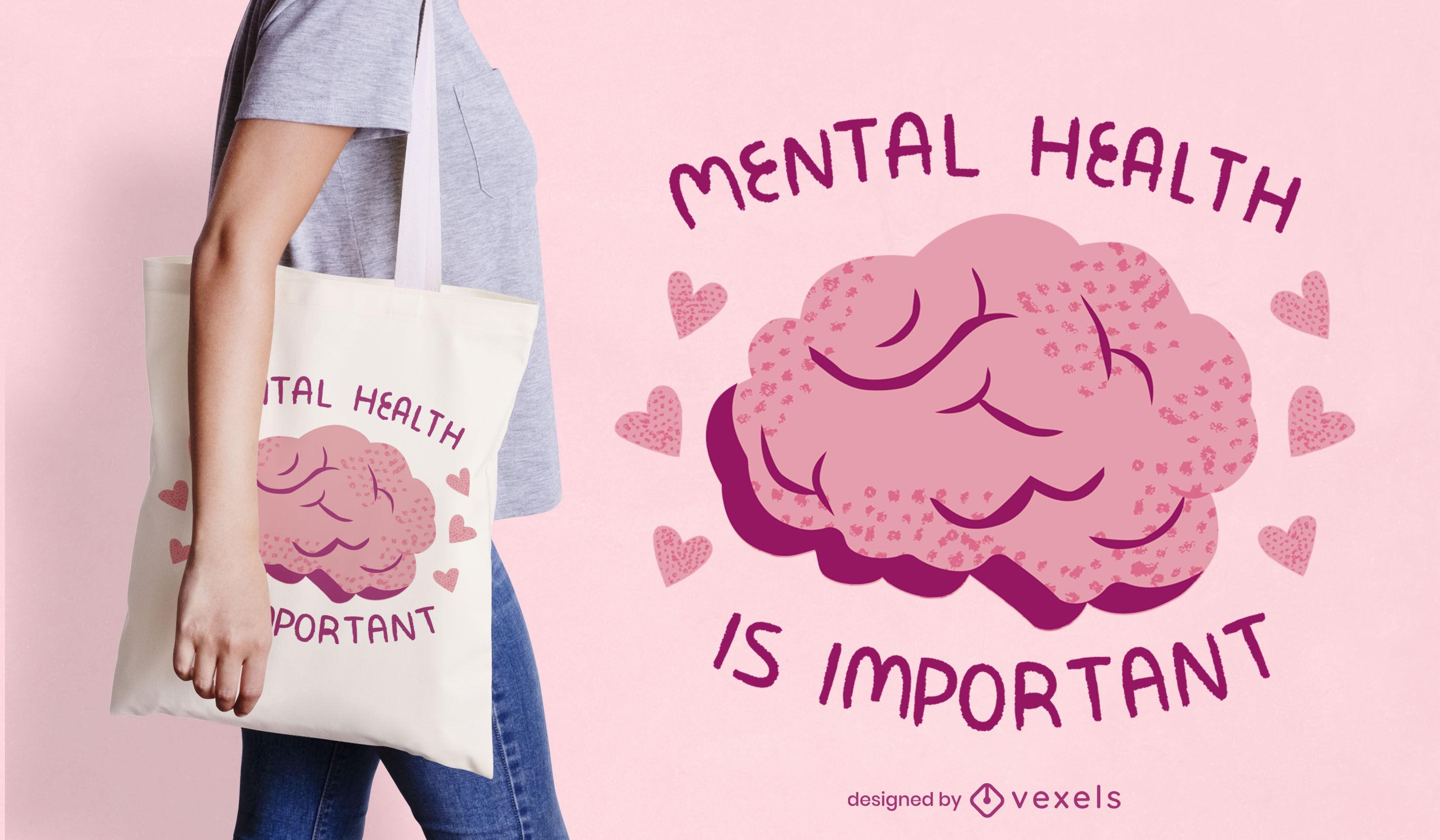 Human brain mental health tote bag design