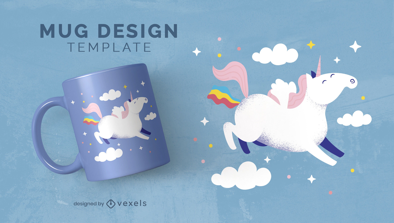 Flying happy unicorn creature mug template