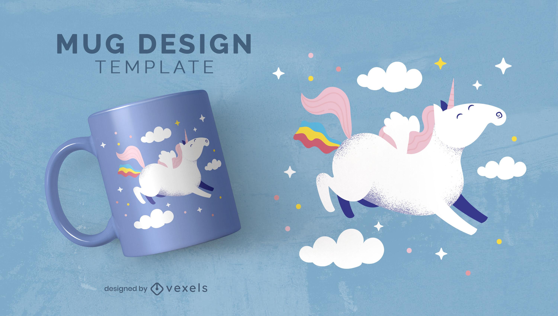 Plantilla de taza de criatura unicornio feliz volador