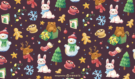 Christmas holiday elements pattern design