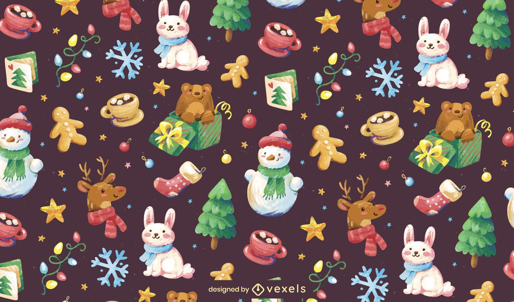 Diseño de patrón de elementos de vacaciones de Navidad
