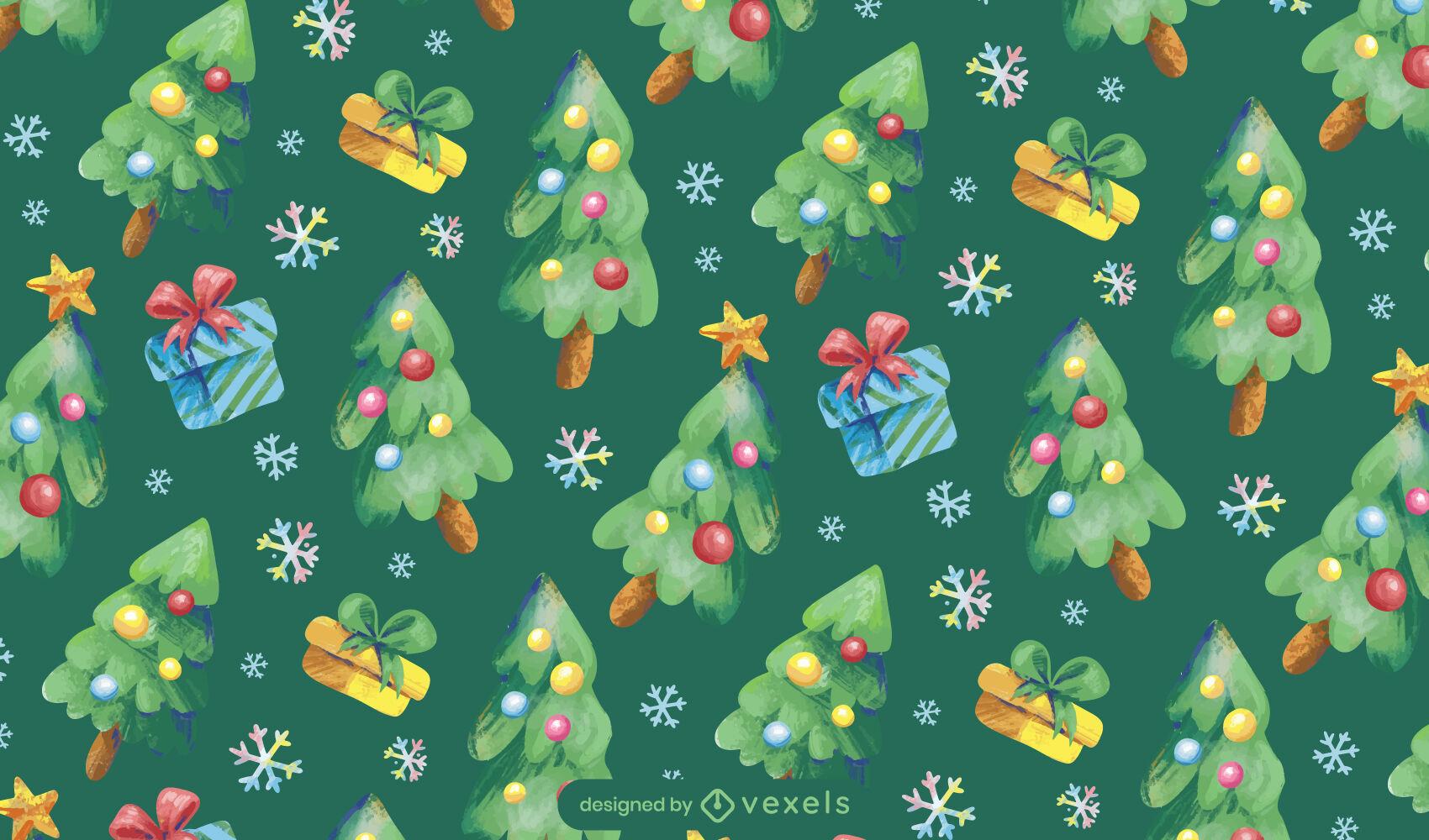 Árvore de Natal e design de padrão de presentes