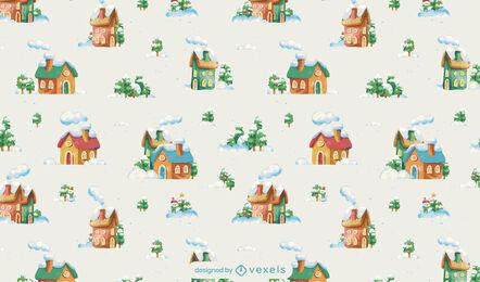 Diseño de patrón de paisaje de nieve de cabañas de invierno