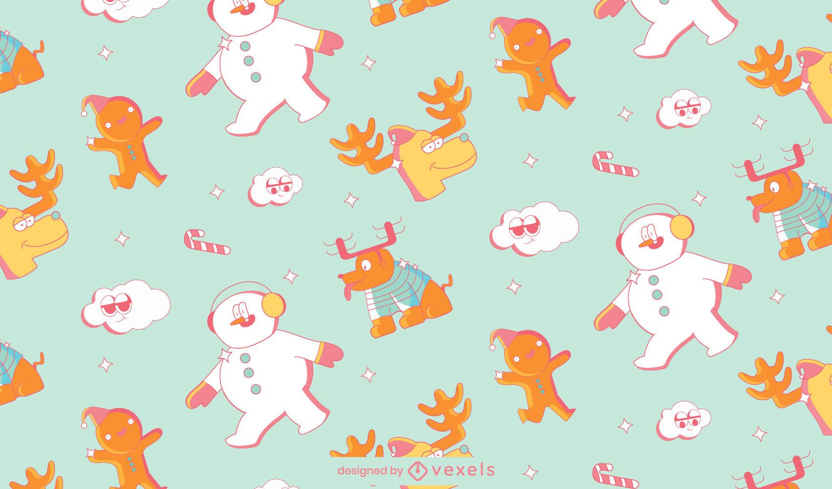Animales navideños y patrón de muñeco de nieve.