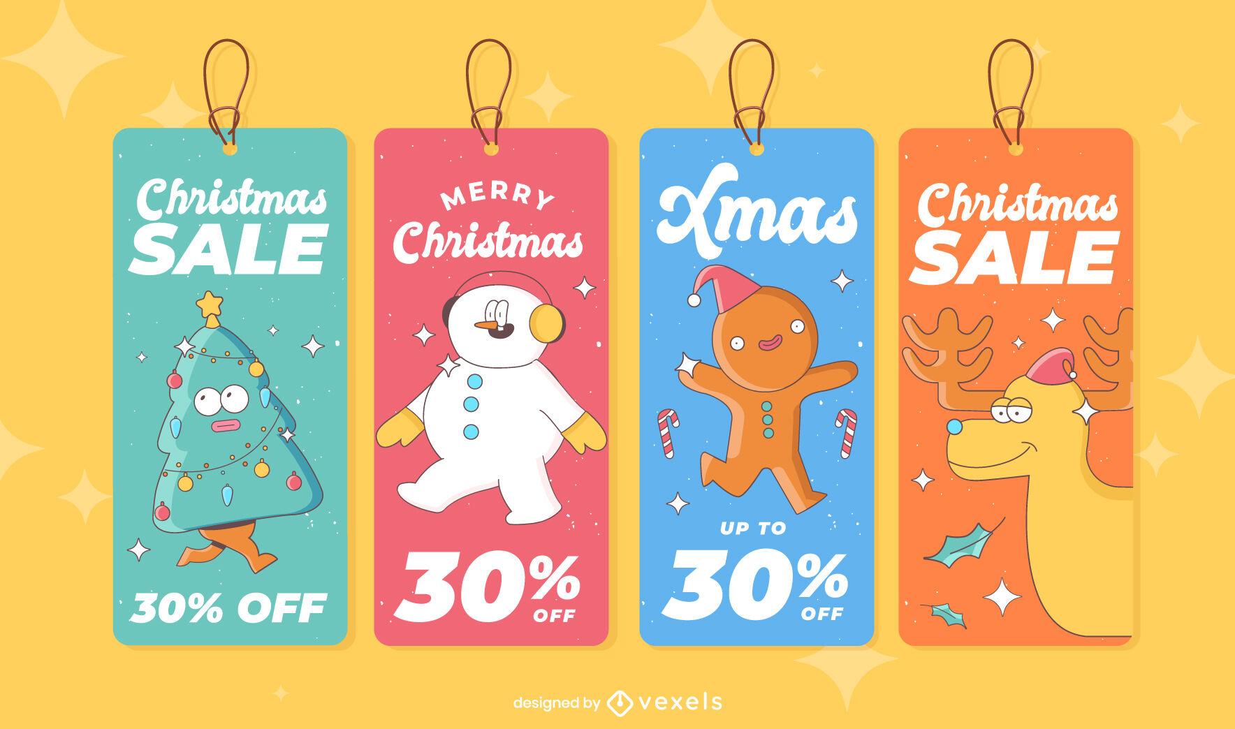 Christmas holiday cartoon price tags set