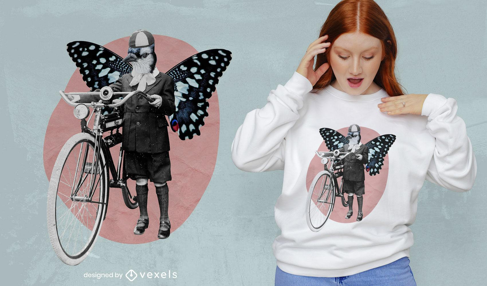 Design de camiseta vintage mulher borboleta bicicleta psd