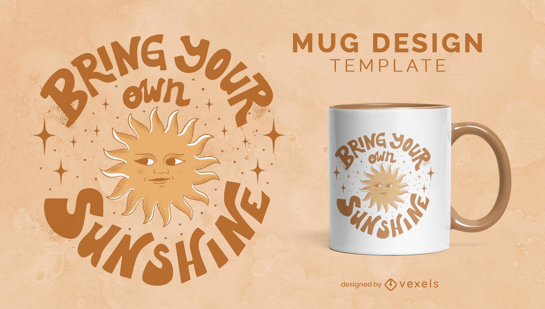 Sunshine motivational quote mug design