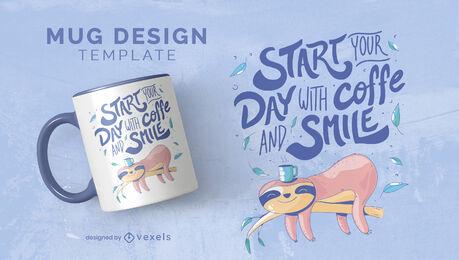 Diseño de taza con letras de café y sonrisa.