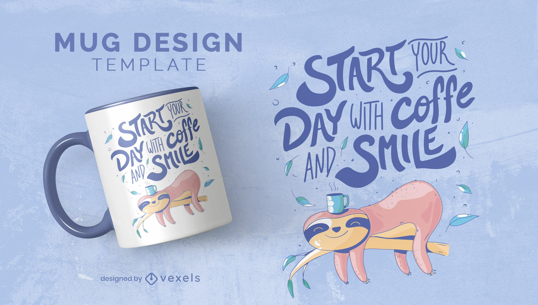 Tassendesign mit Kaffee- und Lächeln-Schriftzug
