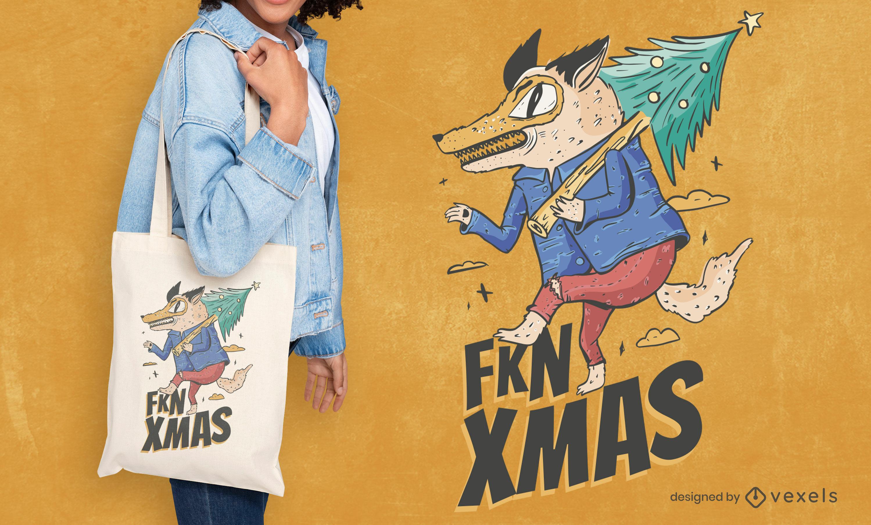 Anti christmas wolf tote bag design