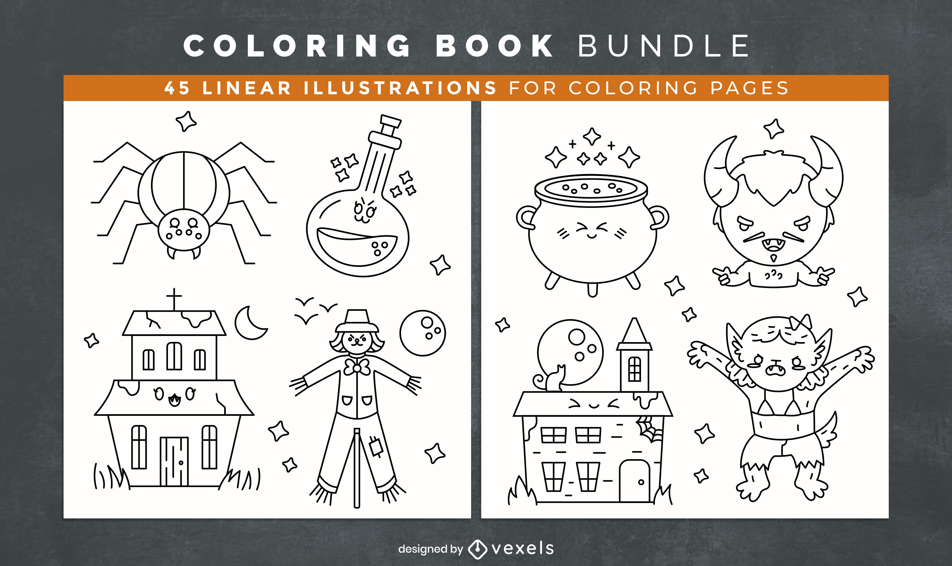 Cute halloween coloring book design pages