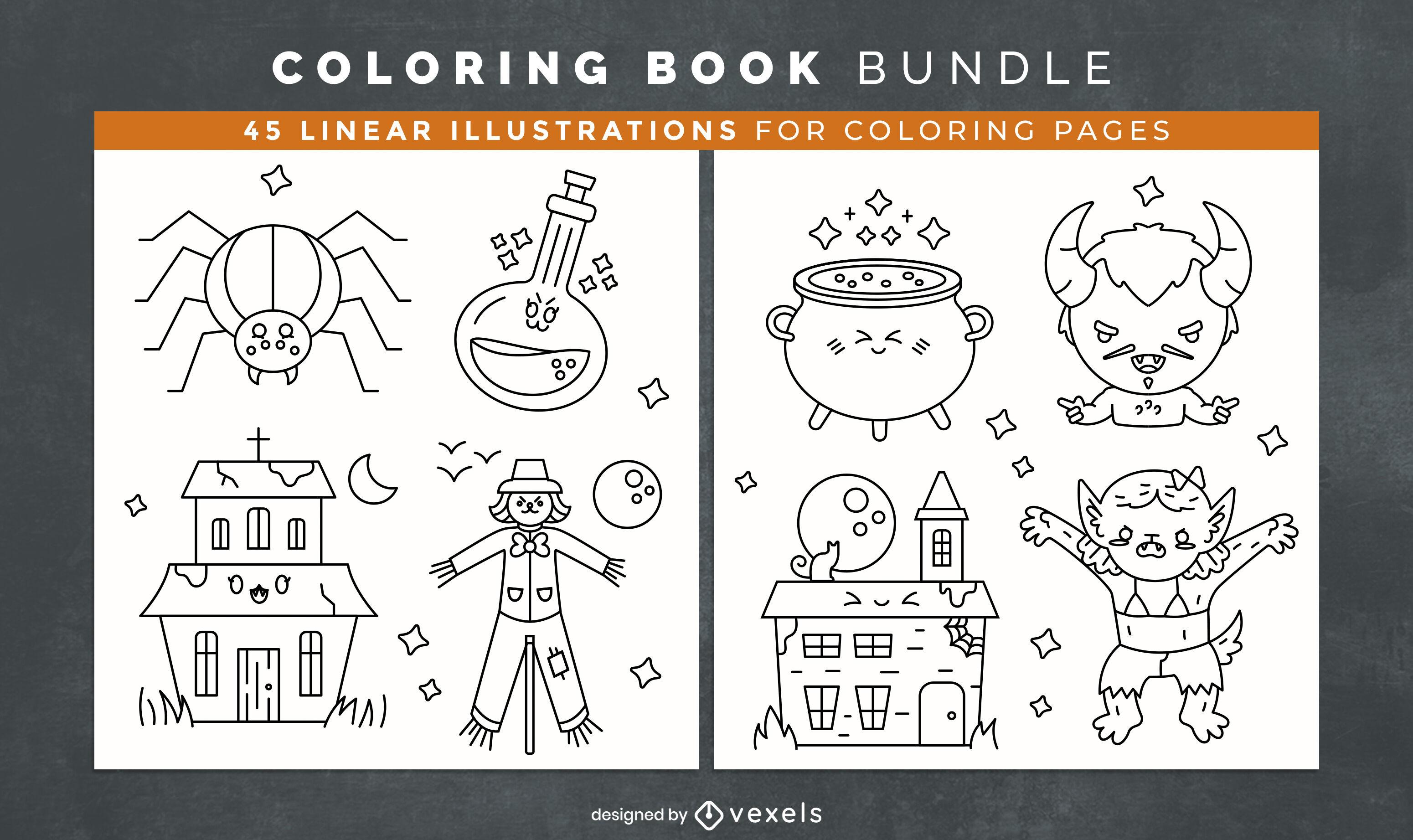 Lindas páginas de diseño de libro para colorear de halloween