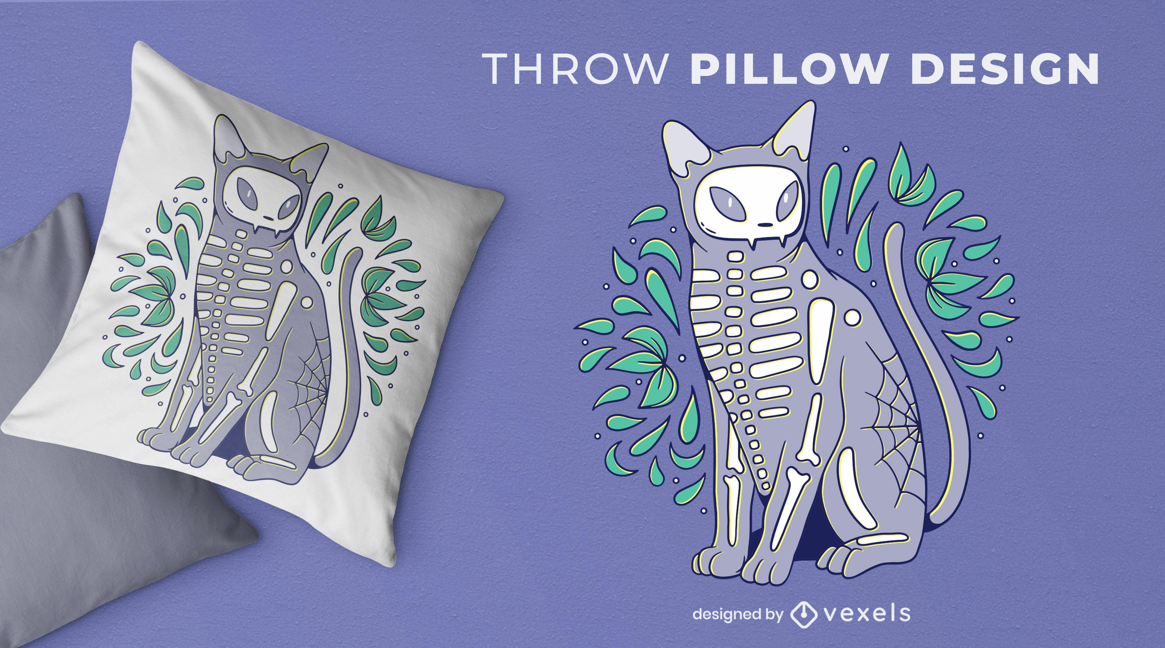 Skeleton cat animal throw pillow design