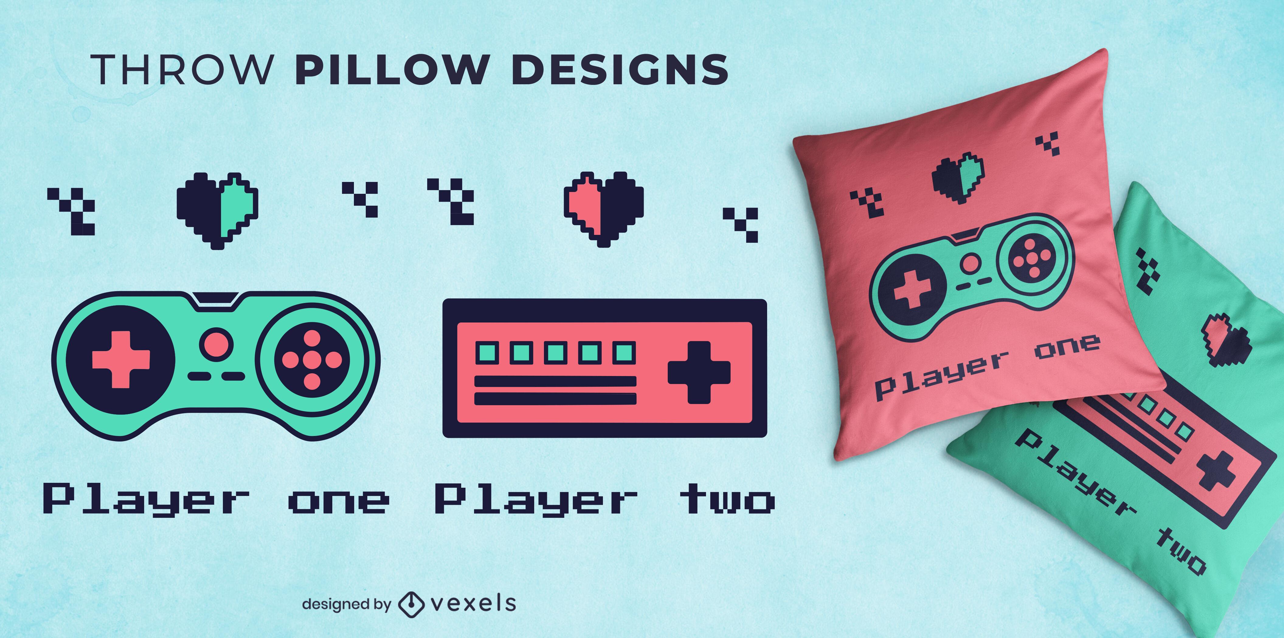 Design de travesseiro decorativo de joystick retrô para jogadores