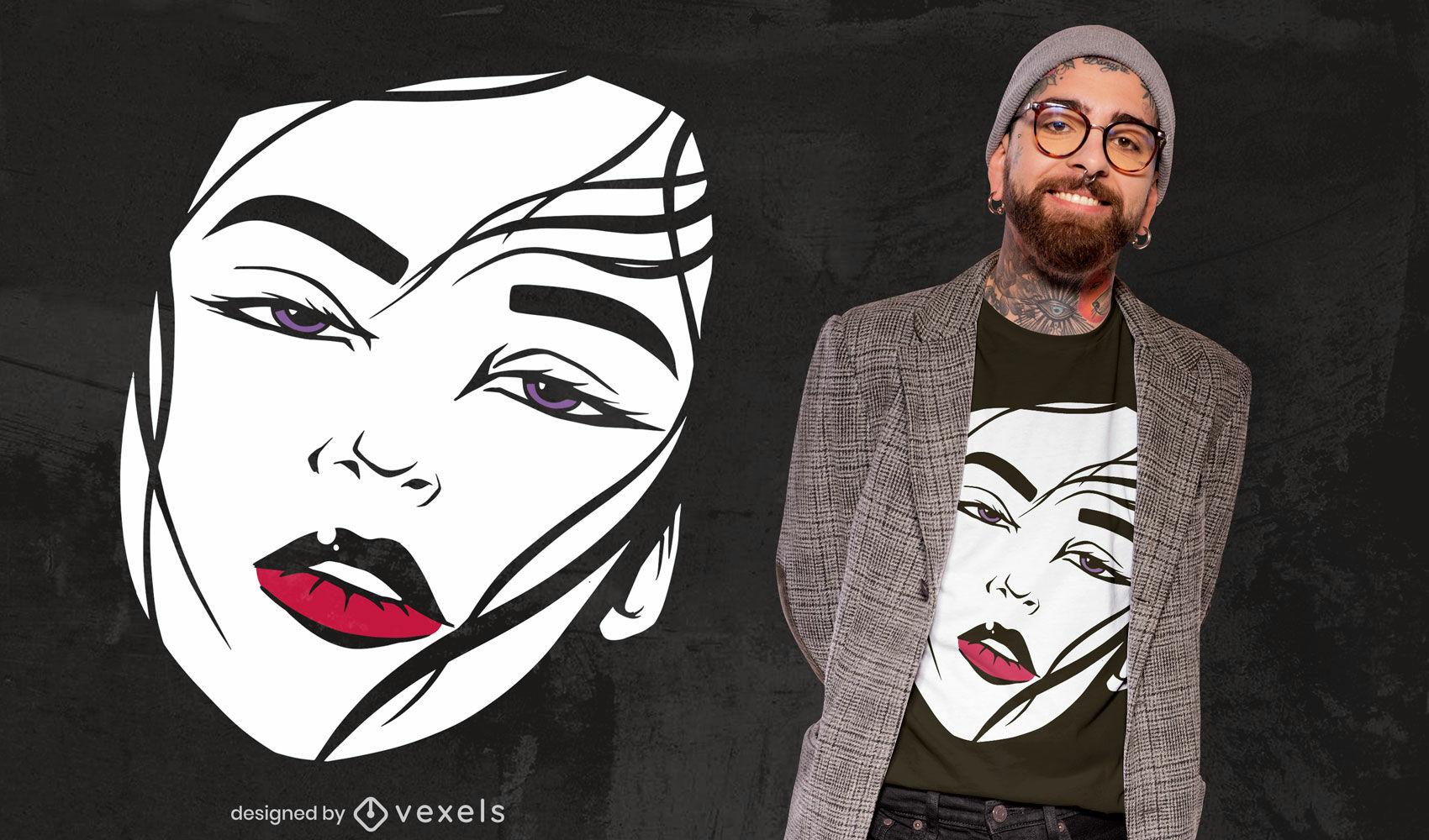 Girl face portrait red lips t-shirt design