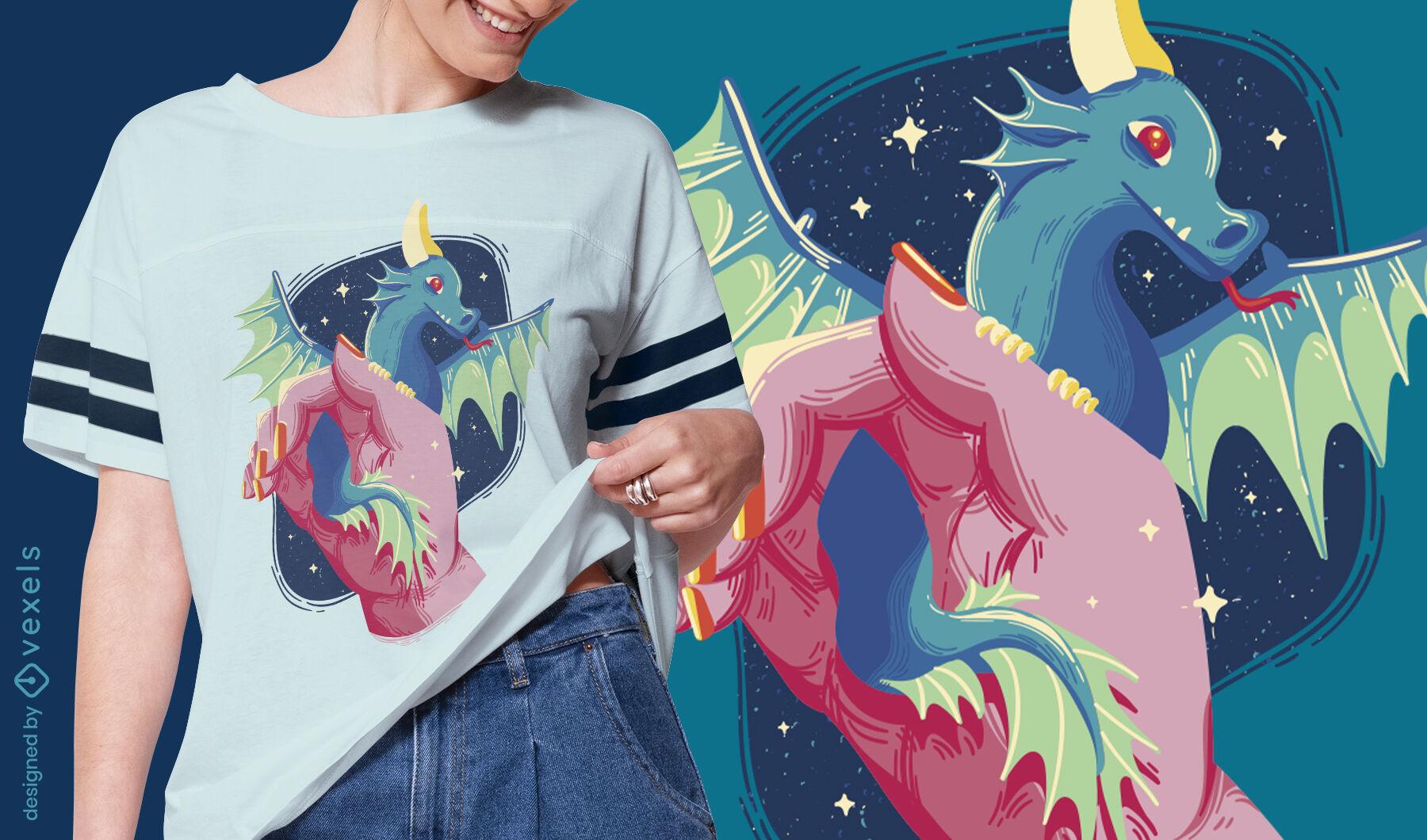 Diseño lindo de la camiseta del bebé del dragón
