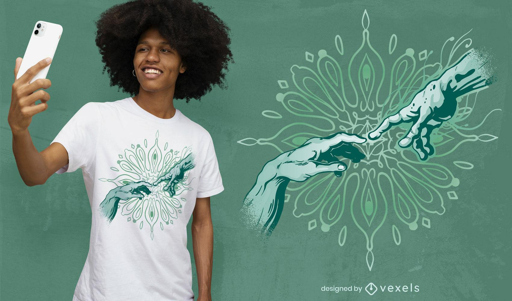 Creation moment hands t-shirt desing