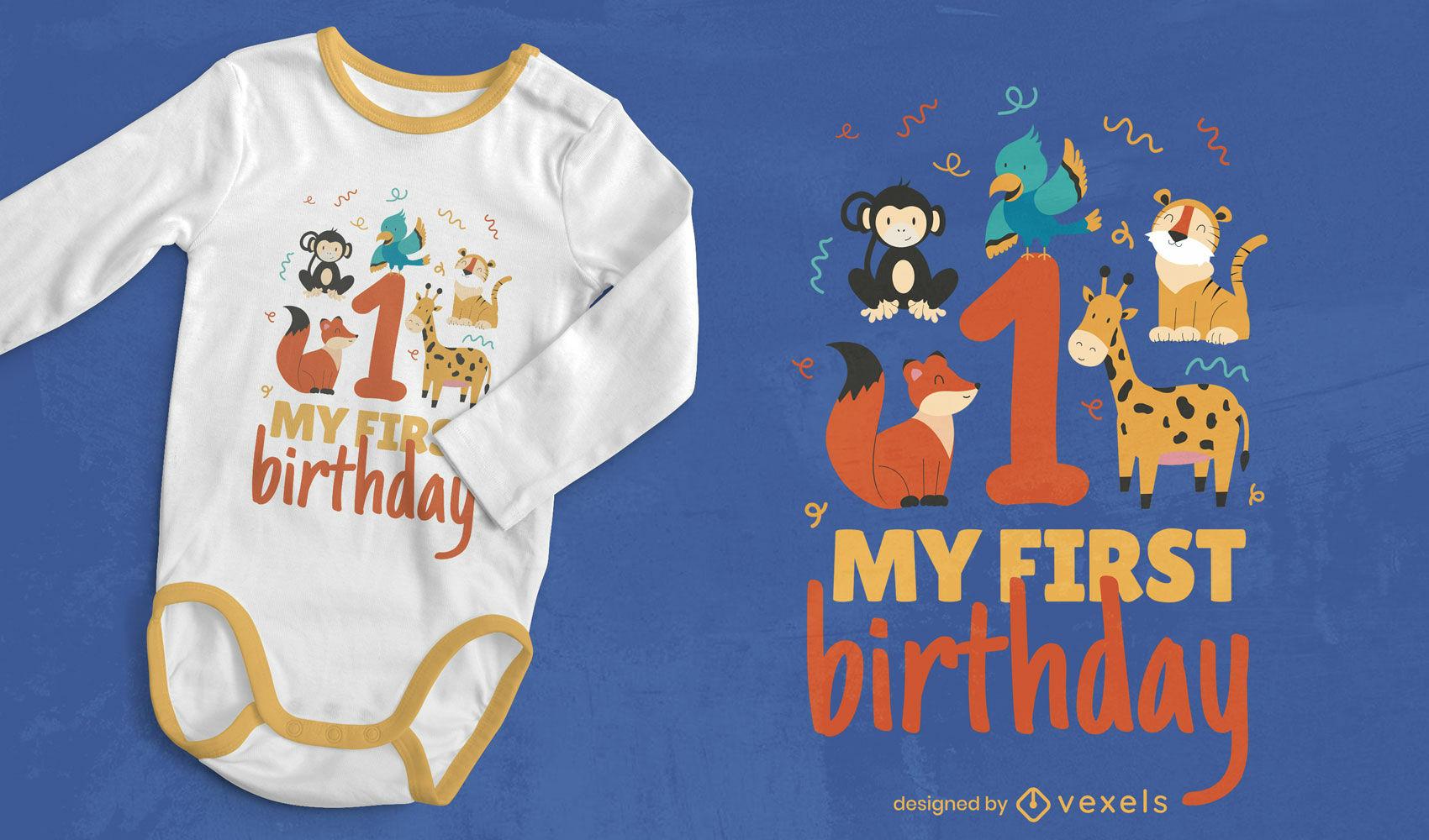 Design de t-shirt de primeiro aniversário para bebé