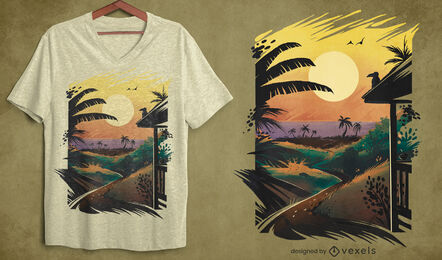 Tropical beach landscape sunset psd t-shirt design