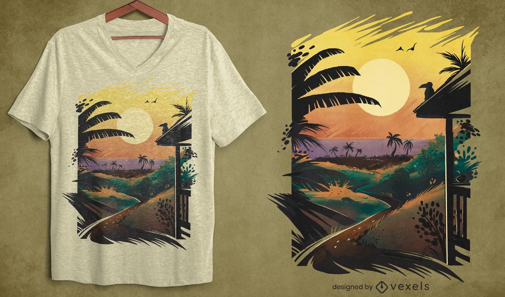 Projeto de t-shirt psd com paisagem tropical de praia e pôr do sol