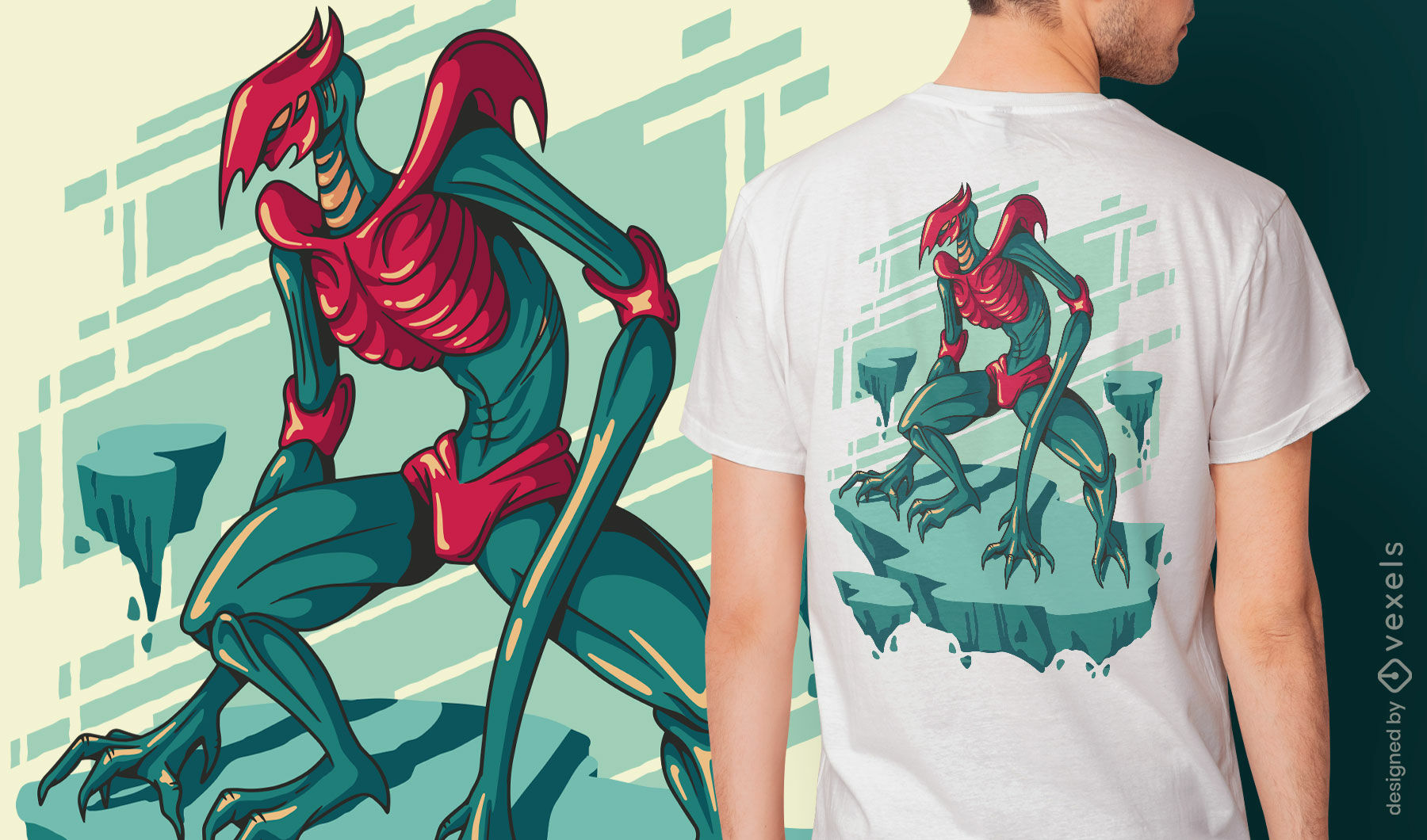 Diseño de camiseta de monstruo de pesadilla esqueleto.