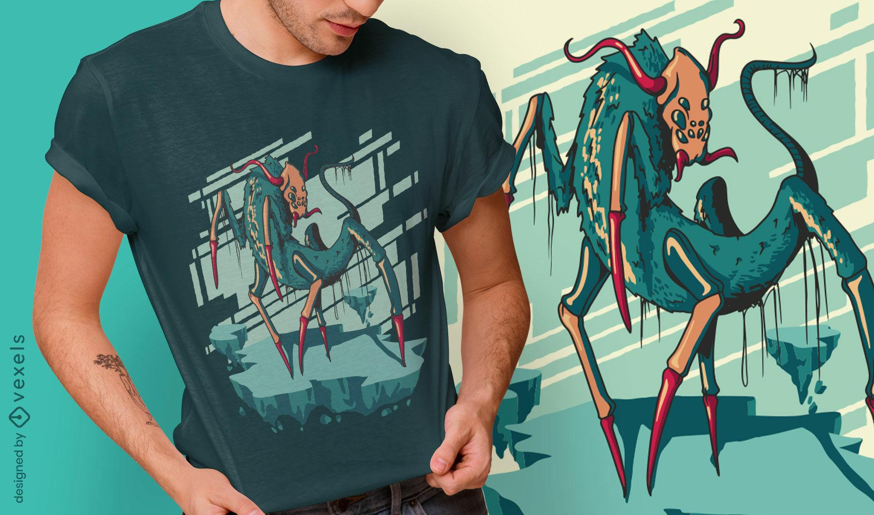 Insekten-Albtraum-Monster-T-Shirt-Design