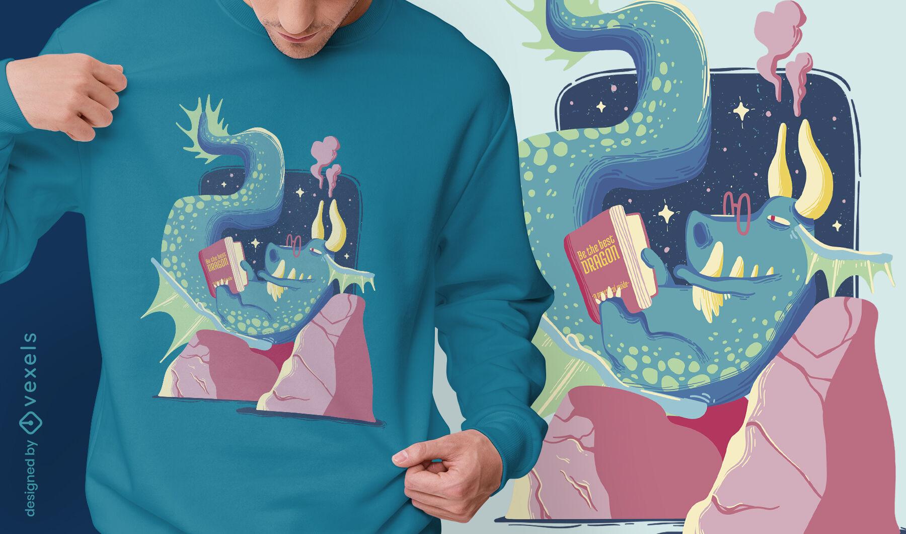 Dise?o de camiseta de lectura de drag?n de cuento de hadas.