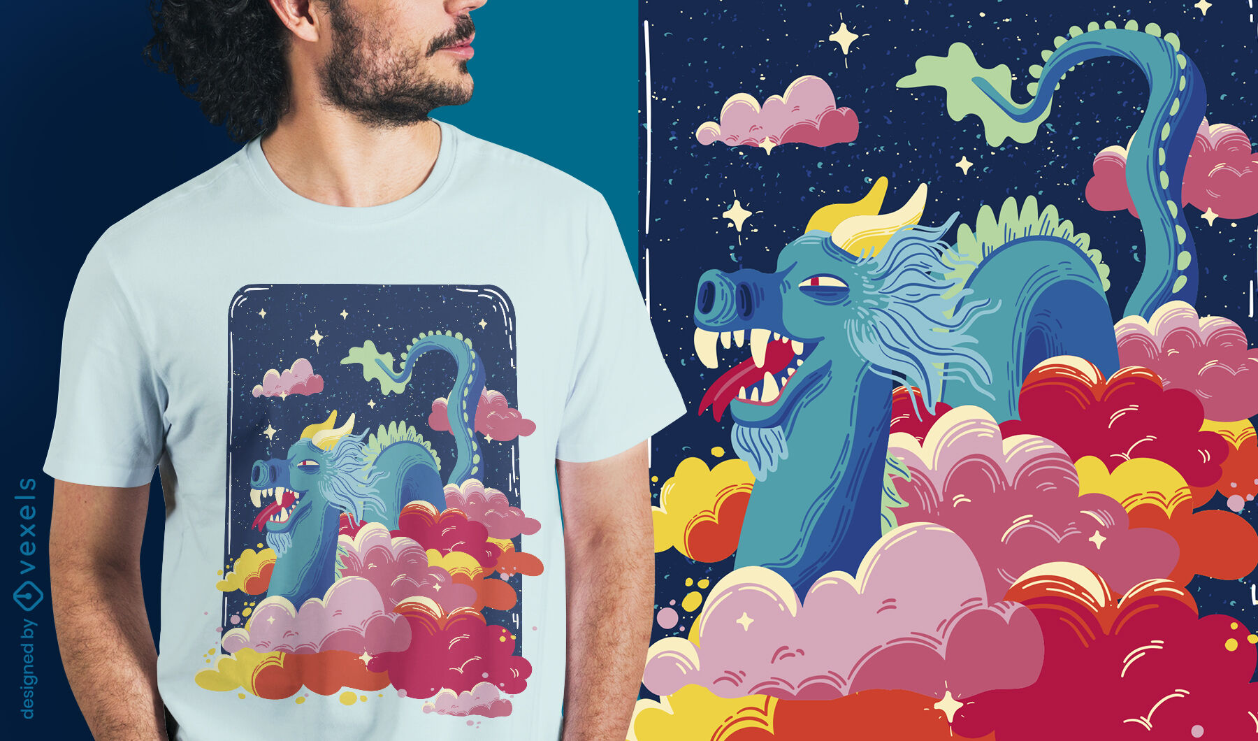 Fairytale dragon in the clouds t-shirt design