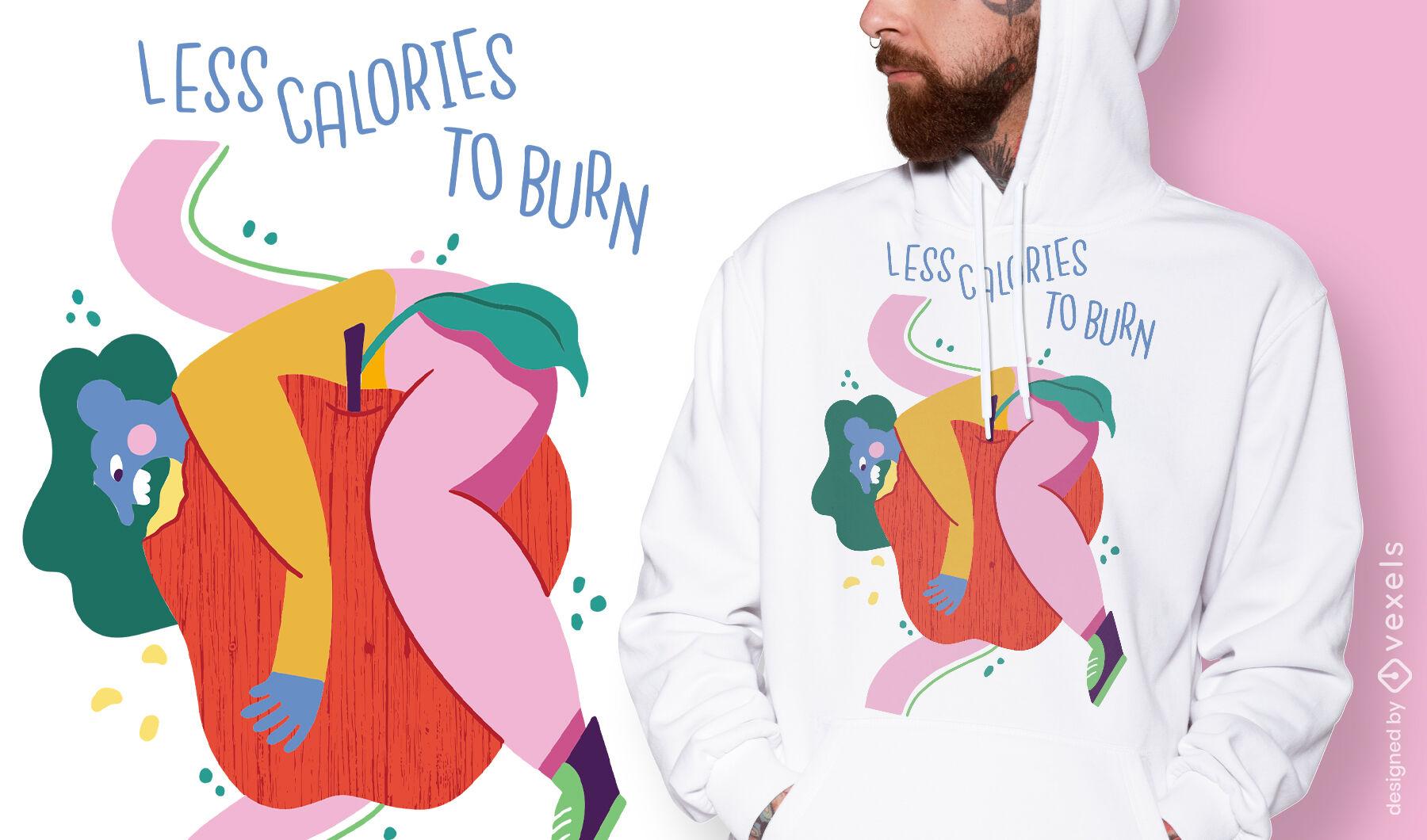 Diseño de camiseta vegana con menos calorías.
