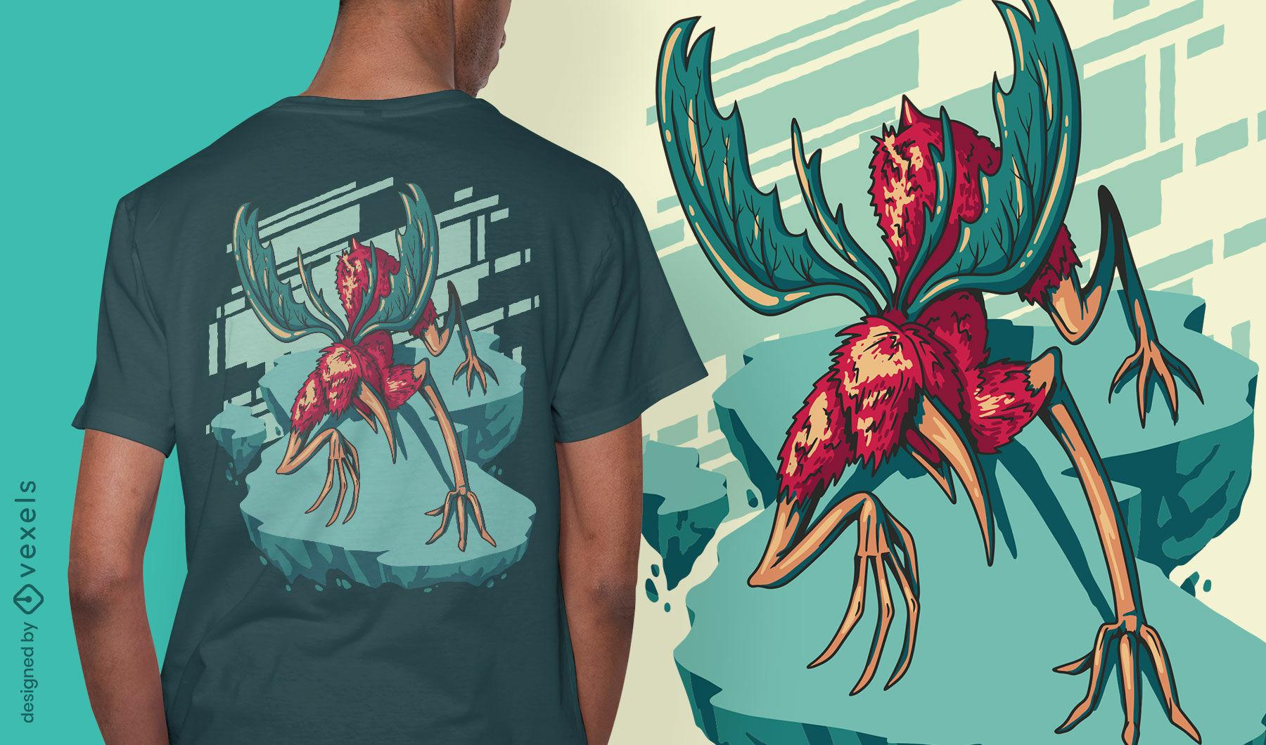 Flying nightmare monster t-shirt design