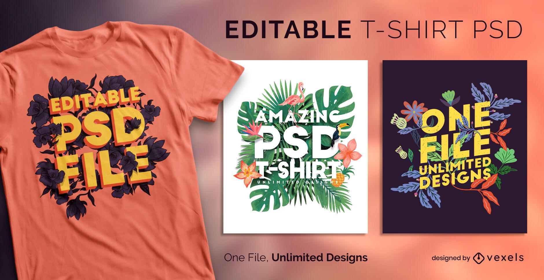 Plantilla de camiseta psd escalable de hojas tropicales florales