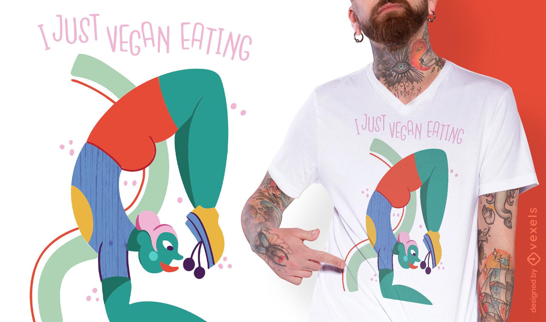 Diseño de camiseta vegana comiendo cita