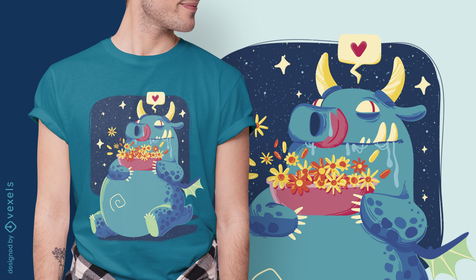 Fairytale dragon with flowers t-shirt design