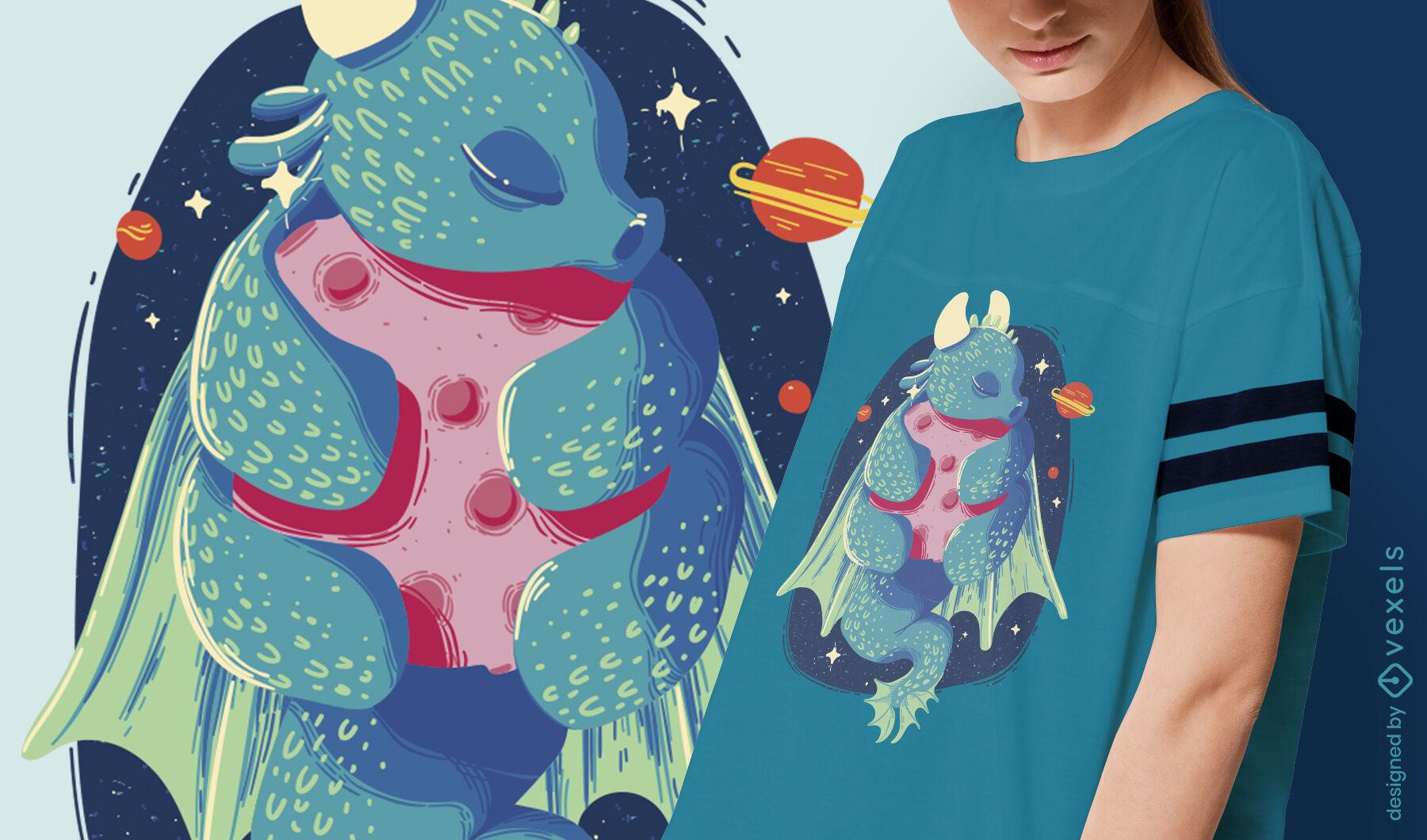 Fairytale dragon hugging planet t-shirt design