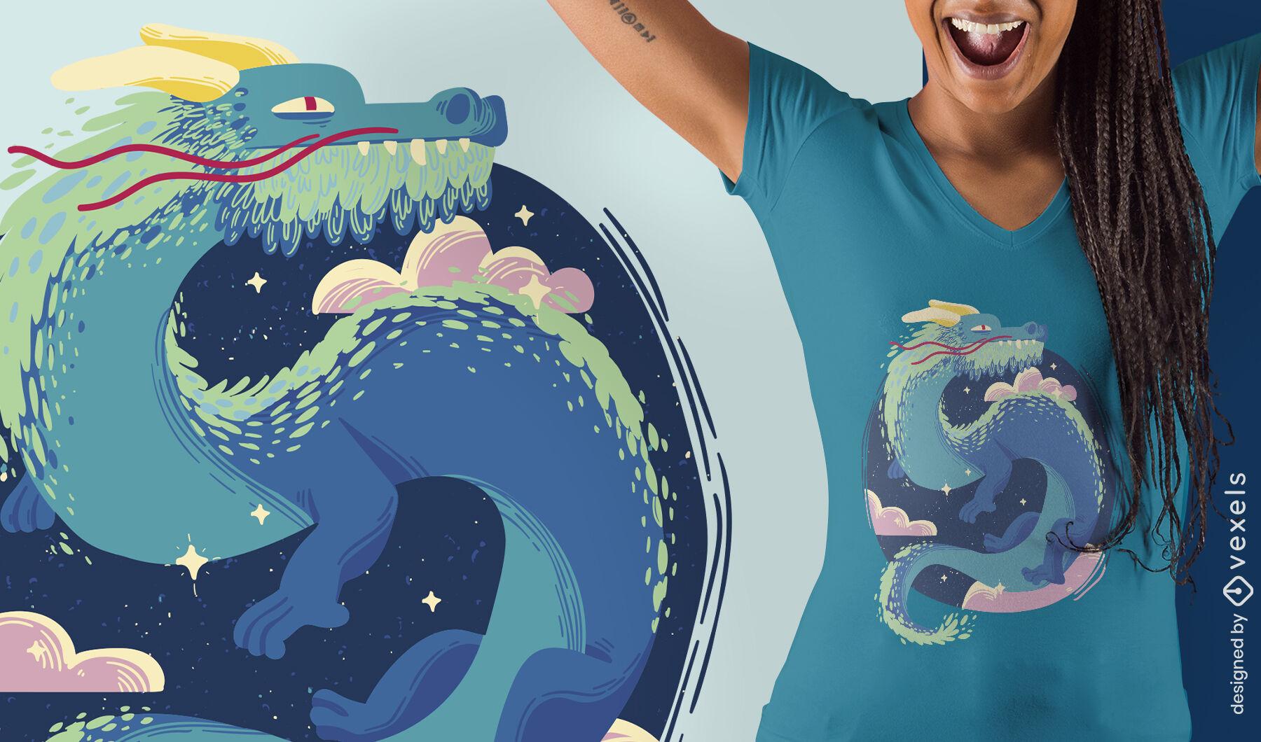 Ancient fairytale dragon t-shirt design