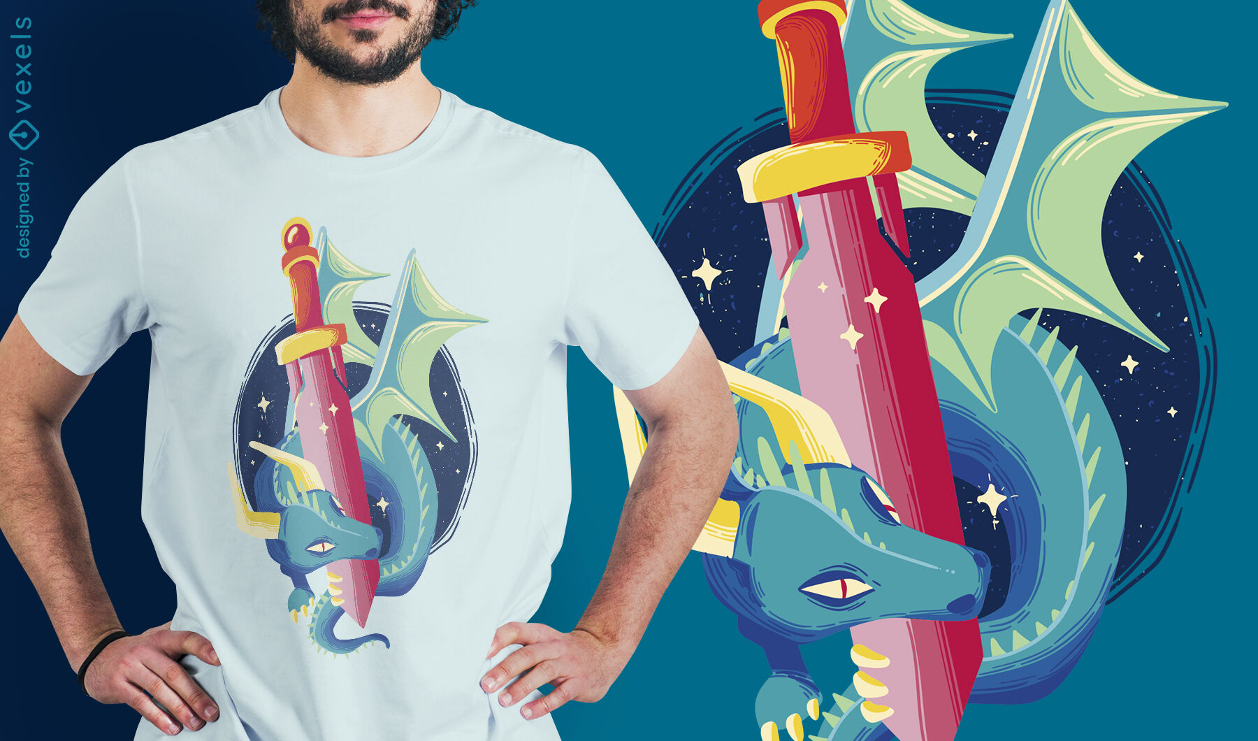 Fairytale dragon with sword t-shirt design