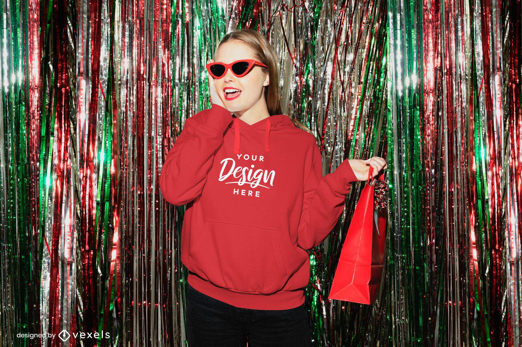 Red hoodie girl in night club mockup