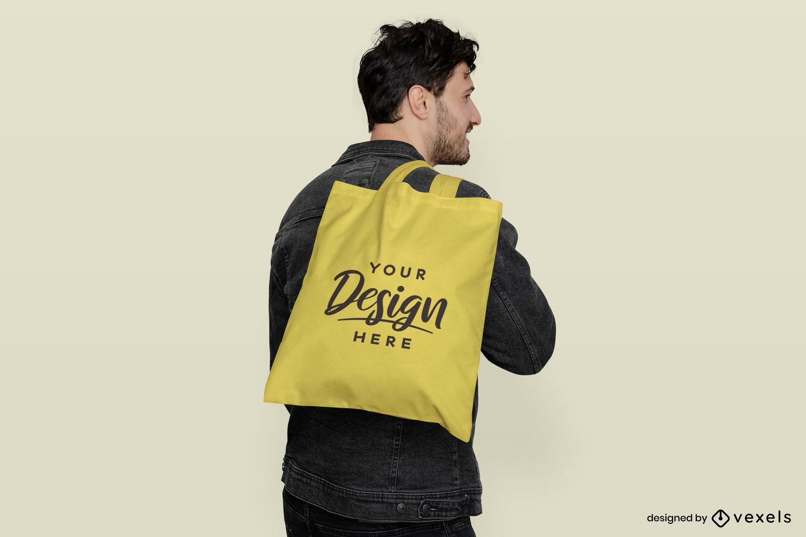 Yellow tote bag flat background man mockup