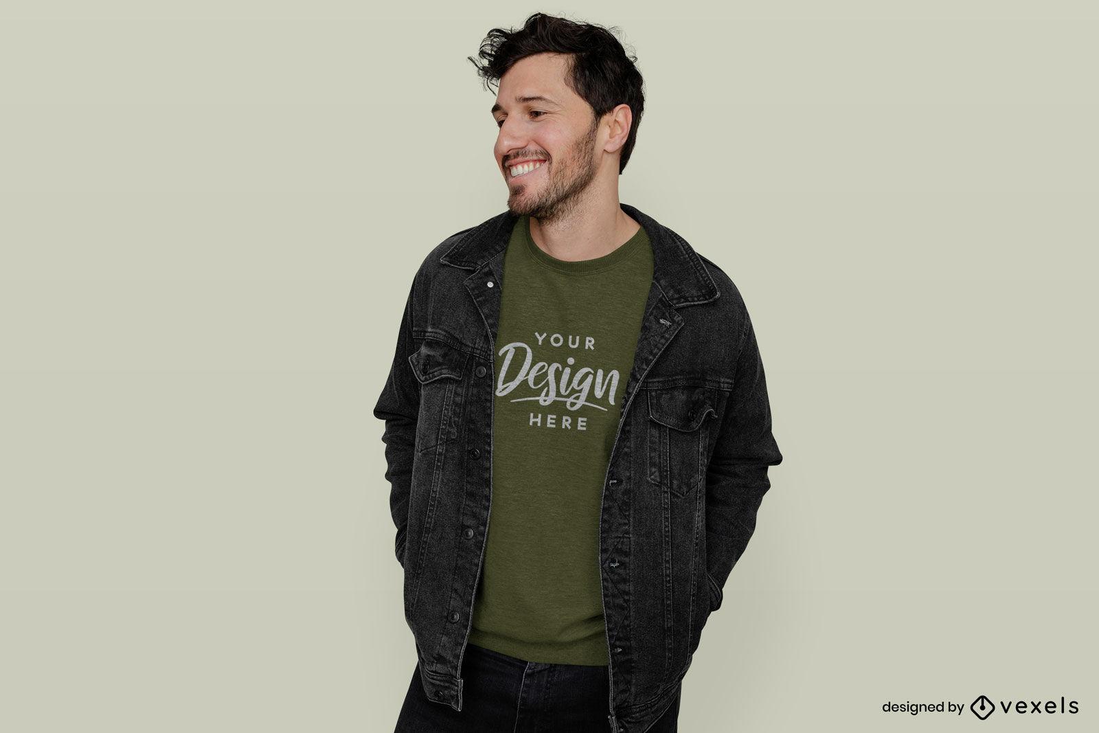 Hombre en maqueta de chaqueta y sudadera verde