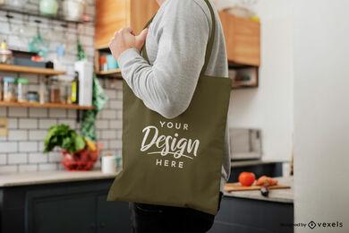 Green tote bag in kitchen mockup