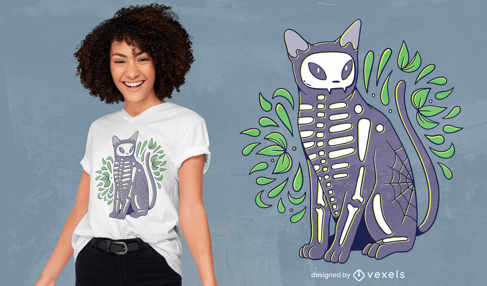Diseño de camiseta de halloween de esqueleto de gato