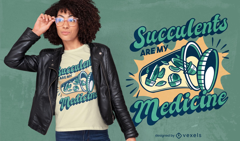 Succulents medicine t-shirt design