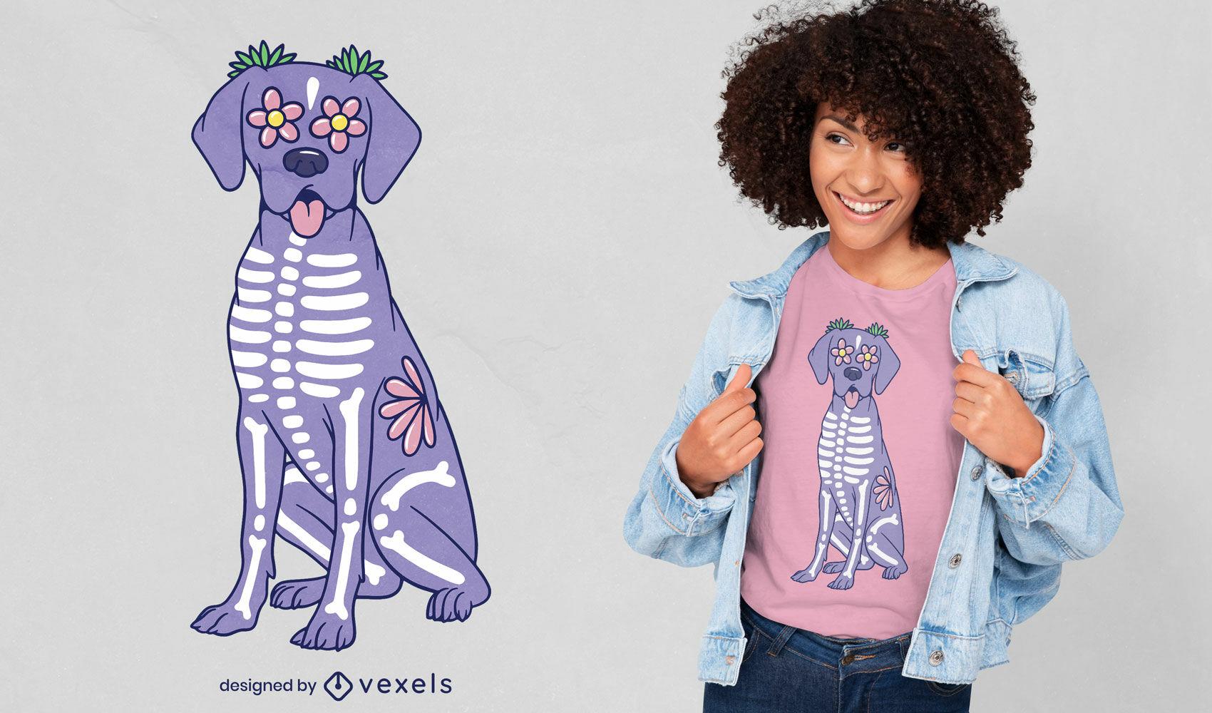 Hermoso diseño de camiseta de perro esqueleto